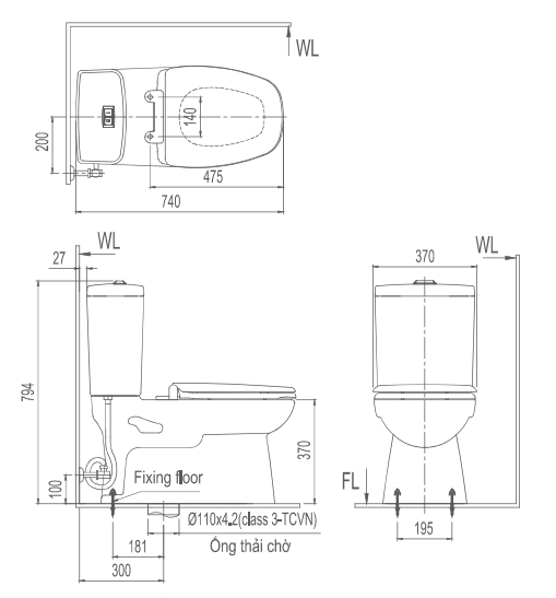 thông số kỹ thuật bàn cầu Inax hai khối AC-808VN